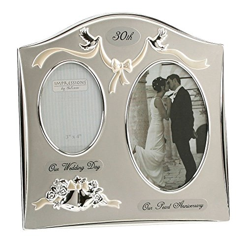 Two Tone Silverplated Wedding Anniversary Gift Photo Frame - '30th Pearl...