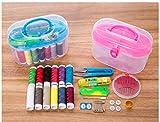 jesilo Mini Needle Threads Buttons Scissor Thimble Sewing Box Kits Multi-Function Plastic H
