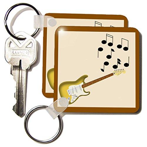 3drose Gold Sunburst elektrische gitaar met noten – sleutelkettingen, 5,7 x 11,4 cm, set 2 stuks (KC 23827 1)