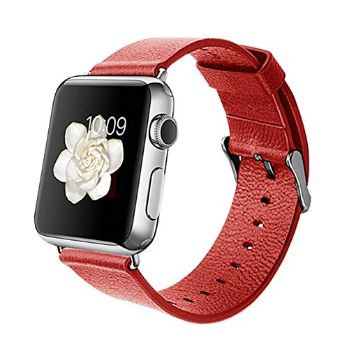 Orzly - Designer Strap for Apple Watch 38MM - RED Faux Leather - Made by Orzly specifically for use with The AppleWatch (Fits 38mm Version of Basic Model and Edition Verson, but NOT for Sport Model)