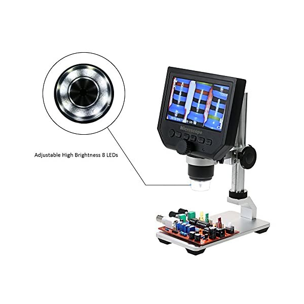 Digilife Digital USB Microscope,600X 4.3'' HD 3.6MP LCD Continuous Magnification Zoom,Digital Microscope Video Camera with Adjustable 8 LEDs,1080P/720P/VGA Resolution,Metal Stand,Rechargeable Battery