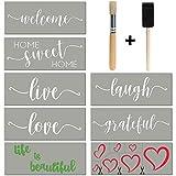 Stencils For Painting on Wood   Cursive Script Sayings, Word Paint Stencils: WELCOME LOVE GRATEFUL etc+ Mandala Hearts   16 pcs Essential Inspirational Stenciling Kit   Rustic Farmhouse DIY Home Décor