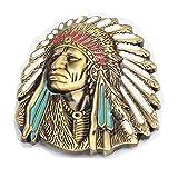 MASOP Native American Indian Warrior Chief Belt Buckle Casual Mens Belt Buckle Rings