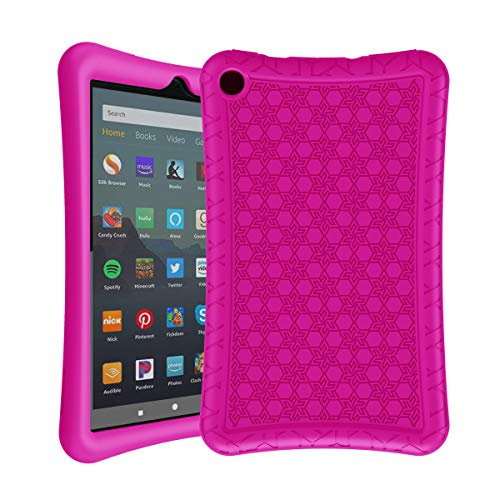 AVAWO Silicone Case for Amazon Fire 7 Tablet with Alexa ( 9th Generation, 2019 Release )- Anti Slip Shockproof Light Weight Protective Cover, Rose