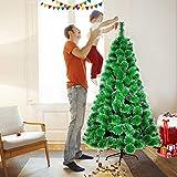Aufun Árbol de Navidad artificial con soporte de metal, montaje rápido y plegado – 210 cm verde agujas con efecto nieve