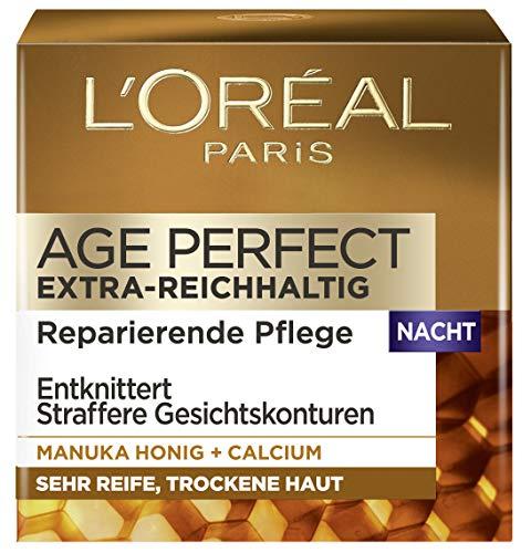 L'Oréal Paris Age Perfect Extra-Reichhaltige Nachtcreme für trockene und reife Haut, Nachtpflege mit Manuka Honig, Anti-Age Intensivpflege stärkt und strafft die Haut, 50ml