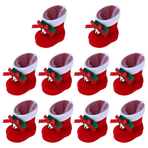 Wiixiong Santa Claus Candy Boots-10pcs, Christmas Candy Bags Boot Shape, Christmas Tree Ornaments, Xmas Tree Hanging Decorations, Creative Box for Kids Boys Girls