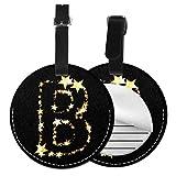 Etiquetas redondas para equipaje de piel con texto en inglés 'Letter A Star', Negro (Negro) - Lp7bgrc-70437456