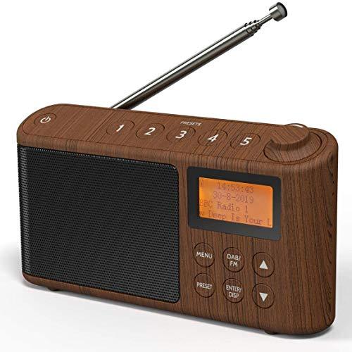 DAB/DAB Plus/FM Radio, Klein Digitalradio Tragbares Batteriebetrieben, Mini Radio Digital Akku & Netzbetrieb, USB-Ladekabel (Holzeffekt)