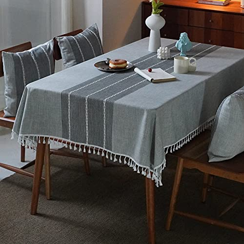 Mokani Washable Cotton Linen Stitching Tassel Design Tablecloth, Rectangle Table Cover Great for Kitchen Dinning Tabletop Buffet Decoration (55 x 86 Inch, Gray)