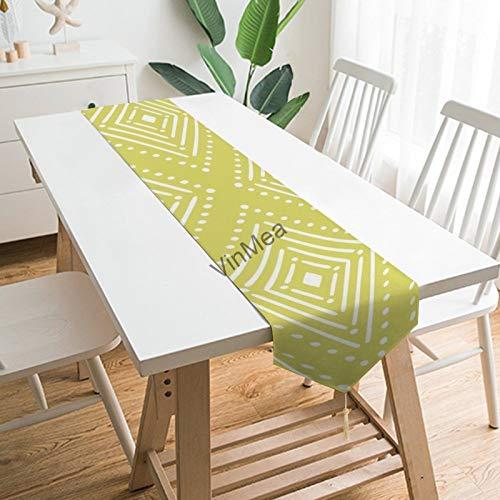 YY-one Camino de mesa estilo granja con patrón gemótrico con puntos de...