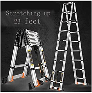 20ft Telescopic Professional Folding Aluminum Multi Purpose Telescoping Ladder Extension Ladder with Spring Loaded Locking (Ladder 6.2M+ 6.2M)