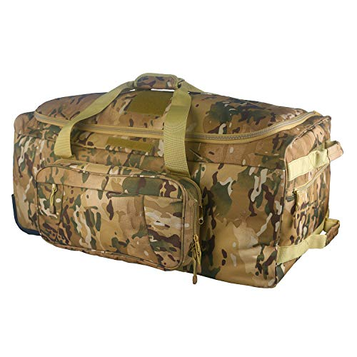 Warrios Product Wheeled Deployment Bag Military Tactical Trolley Duffel Bag,Rolling Luggage for Heavy-Duty Camping,Hiking(Multicam)