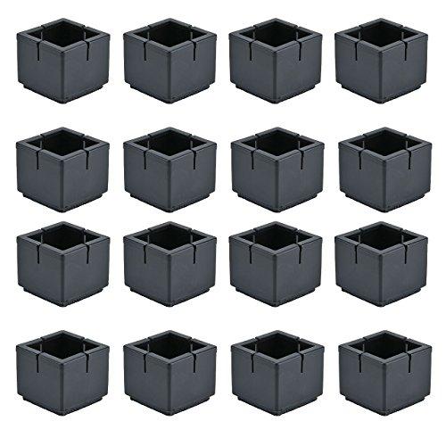 Mogoko 16 x Stuhlbeinkappen Silikon Fußboden Stuhlbein Schutz Öffnungs Caps Möbel Tischabdeckung Furniture Table Chair Legs Feet Covers Pads Protectors für 33-35MM Quadratisch Beine (Schwarz)