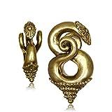 Chic-Net Piercing de 6 mm Borneo, con forma de espiral decorada, latón envejecido, oro 40 g, dilatador, dilatador, espiral, dorado, para hombre y mujer