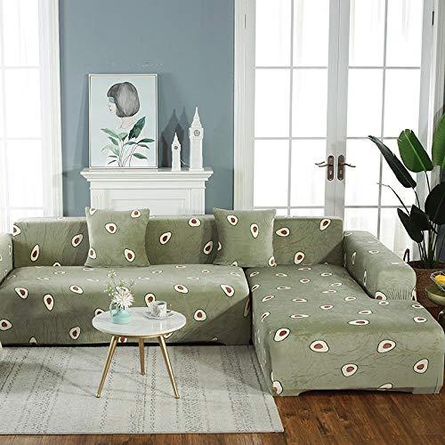 TAYIBO Funda Sofa Elasticas Hojas Impresas,Funda de sofá elástica, Asiento Antideslizante 1/2/3/4, Garra antiincrustante y Anti-Gato-S_1_Seat_90-140cm
