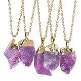 Mengonee Irregular de piedra natural amatista collares pendientes de oro chapado cuarzo envuelto alambre Collar