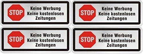 norrun Gelieve geen reclame brievenbus bord sticker met symbool 4erSet roestvrijstalen look