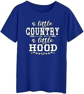 Women A Little Country A Little Hood Letter Print Tops Round Neck Short Sleeve Tee T-Shirt