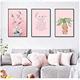 Nordic Refresh Pink Flowers and Green Plants Canvas Paintings Poster Wall Art Pictures for Living Room Decor 20x30cm / 7.8'x 11.8' Con marco