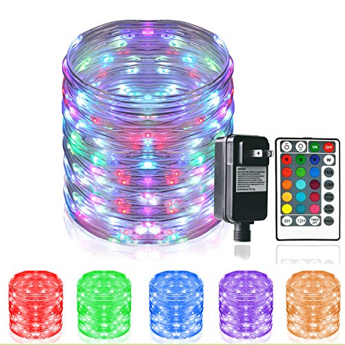 HAHOME 66Ft 200LEDs Color Changing Outdoor String Lights,Multi-Colored Rope Fairy Waterproof Patio Lights Plug in