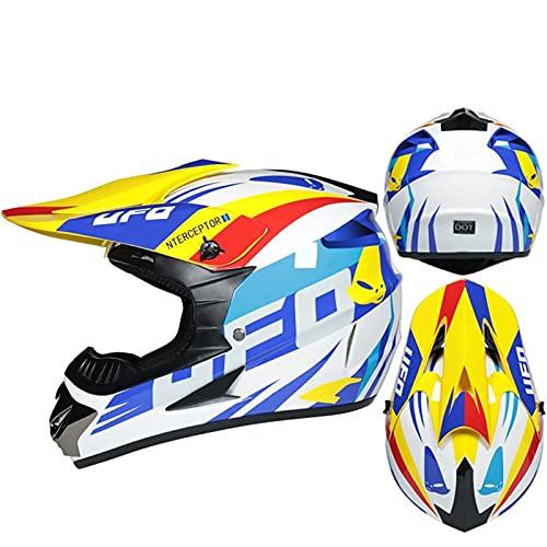 DZSLTC Cascos Moto Y Elegantes Hombre Mujer Motocross Casco Motocross Racing Casco Cross Helm Capacetes Casco Integral Protector Seguridad Cabeza (Color : V, Tamaño : M)
