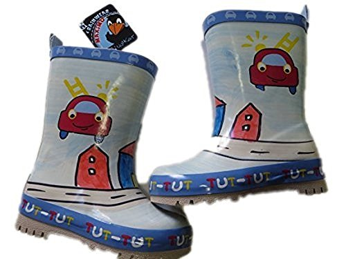 MaxiMo rubberlaarzen voor kinderen, babyrubberlaarzen, natuurlijk rubber met 40% katoenen voering, lichtblauw/rood met motief