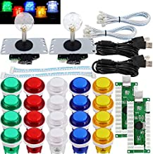 SJ@JX Arcade 2 Player Game Controller Stick DIY Kit LED Buttons MX Microswitch 8 Way Joystick USB Encoder Cable for PC MAME Raspberry Pi Color Mix