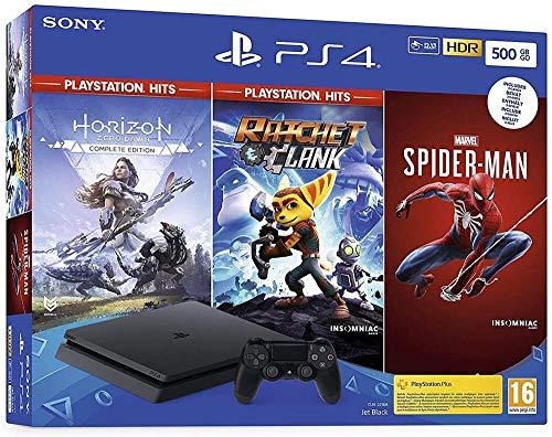 petit un compact Pack PS4 500 Go Noir + Marvel Spider-Man + Horizon Zero Dawn Hit Édition Complète + Cliquet et…