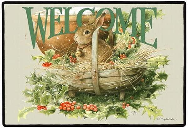 锦绣良缘 s弯头兔子冬青浆果欢迎室内室外门垫