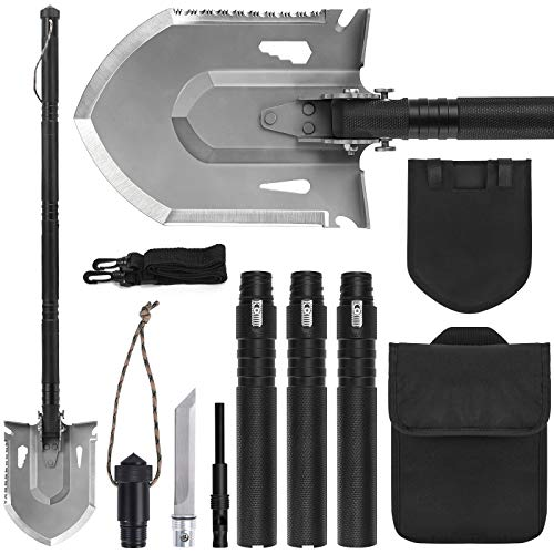 FLYEGO OffRoading Shovel 180 Degree Folding Spade and Survival Shovel Multifunctional Tactical Shovel Gear 420B Stainless Steel Update Design for Car Emergency
