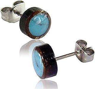 Orecchini unisex 8 mm, in legno di cocco e acciaio inossidabile, conchiglia e pietra rotonda intarsiata a stella   lobe pi...