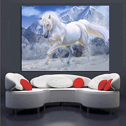 HD weißes Pferd läuft auf Leinwand Ölgemälde Pferd Minimalismus Moderne Tier Wandkunst Bild Kinderzimmer Dekoration rahmenlose Malerei 40X60CM