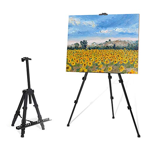 """STARHOO Easel for Painting Canvases - Aluminum Art Easel Stand for Table Top/Floor 17"""" to 56"""" Adjustable Height with Portable Bag Black"""