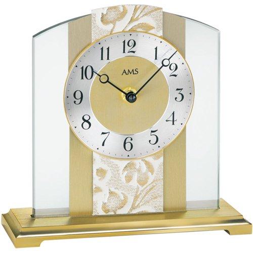 AMS 1123 - Reloj de mesa (cuarzo, base de metal, cristal mineral, latón pulido)