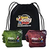 Beer Belly Bags Pro Plus Performance Cornhole Bags ACL Approved Tournament Regulation Resin Fill Set of 8 Includes Carrying Tote Made in USA (Red/Green)