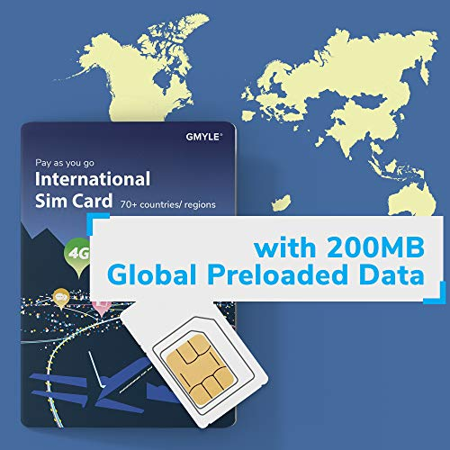 GMYLE SIM Starter Kit, Prepaid International Travel SIM Card, Flexible Top-up Data Packs for Over 50 Countries and Regions - Cover Asia-Pacific and EU Regions