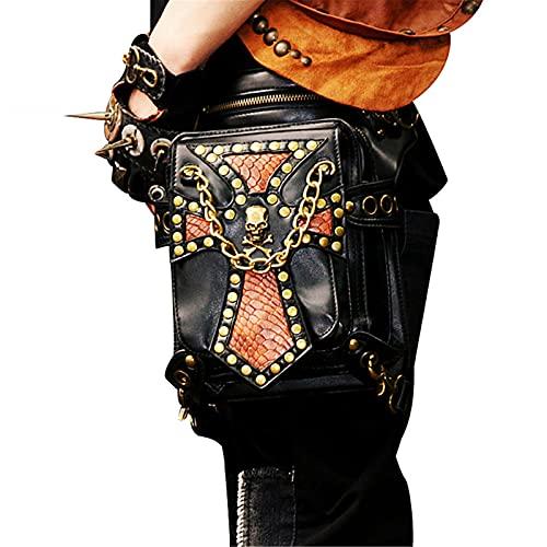 WMJL Steampunk Vintage Mode Taille Sac Fanny Pack en Cuir Gothique Ceinture Pochette Téléphone Portable Bourse Étui Voyage Portefeuille Cas Festival Party Props pour Femmes Hommes
