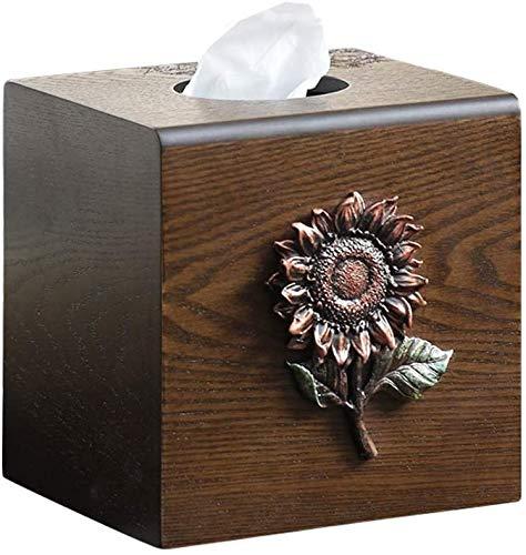 KMILE Caja de pañuelos para decoración creativa retro caja de pañuelos de madera, sala de estar, control remoto, caja de almacenamiento multifunción para servilletas 13,5 x 13,5 x 14 cm
