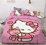 QWAS Hello Kitty - Juego de funda nórdica y 2 fundas de almohada (2,220 x 240 cm + 50 x 75 cm), diseño de Hello Kitty