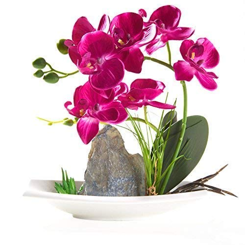 Imiee Artificial Phaleanopsis Arrangement with Vase Decorative Orchid Flower Bonsai (Purple)