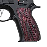Cool Hand G10 Grips for CZ 75 Compact, Snake Scale Texture, Brand Cherry Color