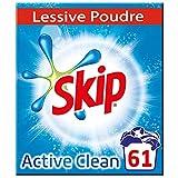 Skip Lessive Poudre Active Clean x61, Propreté éclatante, Ravive le blanc, Elimine les tâches difficiles 61 Doses