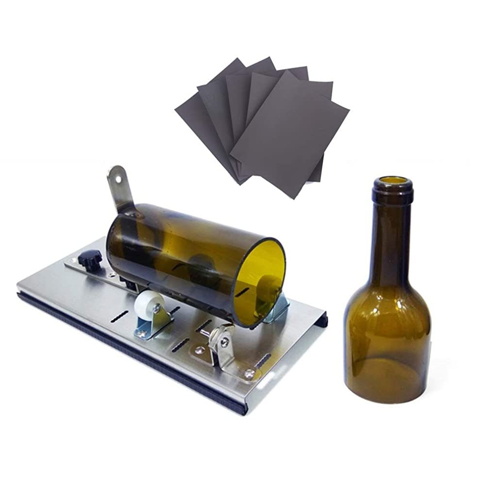 Glass Bottle Cutter, Stained Glass Cutting Tool Kit Glass Wine Jar Etching for DIY Glassware, Lamps, Vases, Candle Holders - for Larger, Longer Bottle and Jar with 5pcs Sandpaper