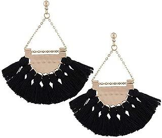 YONYou Retro Colours Woolen Tassel Dangle Stud Earrings Boho Ear drop Statement Handmade Sector Earrings for Women Mothers Day Gift