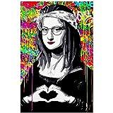Maquillaje Mona Lisa Carteles e impresiones Lienzo Divertido Pintura famosa en el arte de la pared Imagen de retrato colorido para la decoración de la sala de estar -50x75cm Sin marco