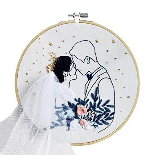 Minone Wedding Embroidery Kit Gift for Beginners Embroidery Cross Stitch Starter Set with Pattern & Instructions, 1 Embroidery Cloth, 1 Bamboo Embroidery Hoops,Threads & Scissor