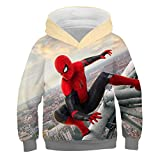 YXRL Child Hoodies Spiderman 3D-Druck Cosplay Kapuzenpullover Langarm-Sweatshirts Yellow-110