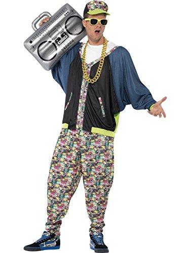 Smiffys Costume hip hop années 80, À motifs, avec veste, pantalon et chapeau