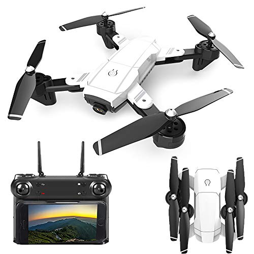 HAHA Telecamera Drone Dual con Grandangolare-Regolabile Camera 1080P HD WiFi Quadricottero Funzione Seguimi, Altitudine Attesa, Controllo di più Lunga Distanza